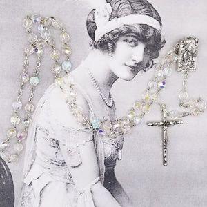 Vintage Aurora Borealis Lourdes relic Rosary
